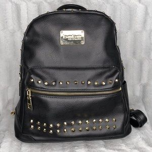 Bebe Jet Monogram Black Leather Studded Backpack